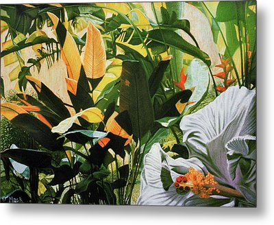 White Hibiscus With Palms Metal Print