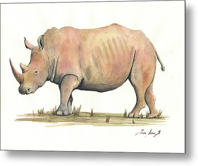 White Rhino Metal Print by Juan Bosco
