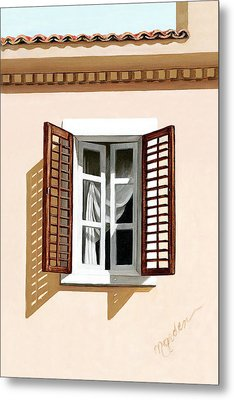 Window Above Athens - Prints From Original Oil Painting Metal Print