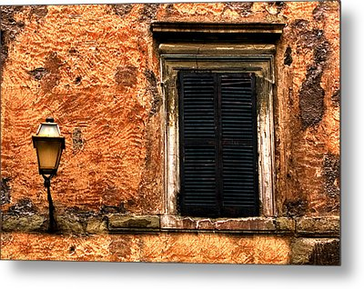 Window And Lamp Rome Italy Metal Print by Xavier Cardell