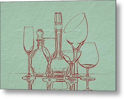Wine Decanters With Glasses Metal Print by Tom Mc Nemar