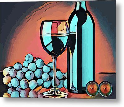 Wine Glass Bottle And Grapes Abstract Pop Art Metal Print by Elizavella Bowers