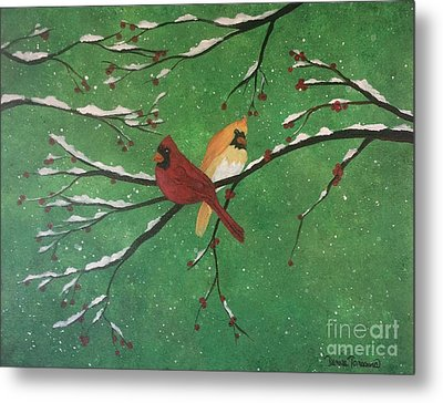 Metal Print featuring the painting Winter Cardinals by Denise Tomasura