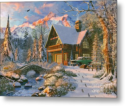 Winter Holiday Cabin Metal Print by Dominic Davison
