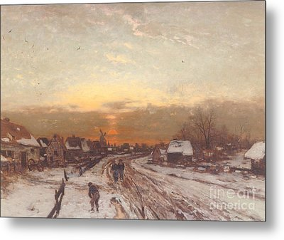 Winter Landscape At Sunset Metal Print