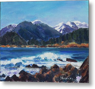 Metal Print featuring the painting Winter Mountains Alaska by Yulia Kazansky