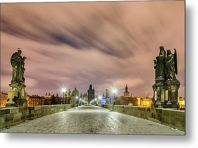 Winter Night At Charles Bridge, Prague, Czech Republic Metal Print