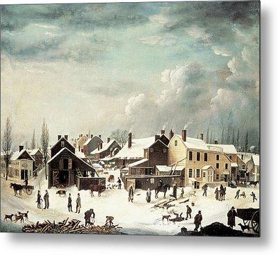 Winter Scene In Brooklyn Metal Print by Francis Guy