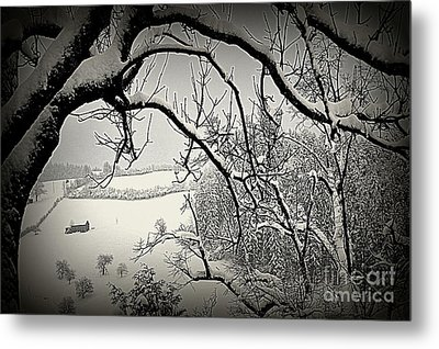 Metal Print featuring the photograph Winter Scene In Switzerland by Susanne Van Hulst
