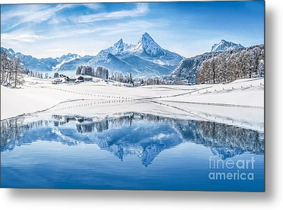 Winter Wonderland In The Alps Metal Print
