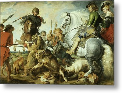 Wolf And Fox Hunt Metal Print
