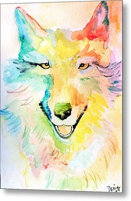 Metal Print featuring the painting Wolfie by Denise Tomasura