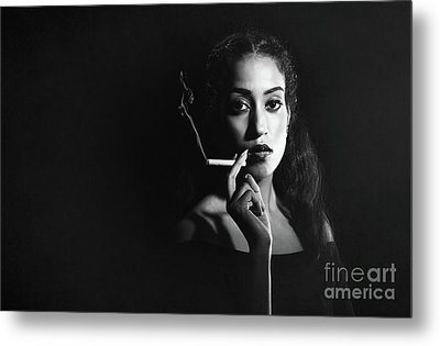 Woman Smoking Metal Print