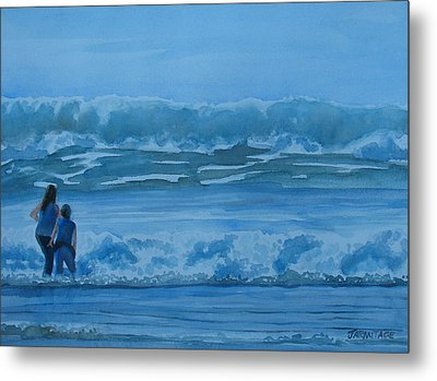 Women In The Surf Metal Print