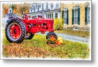 Woodstock Vermont Red Tractor Metal Print