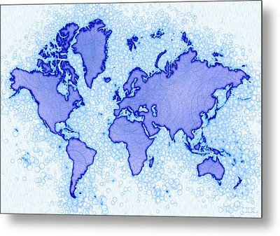 World Map Airy In Blue And White Metal Print by Eleven Corners