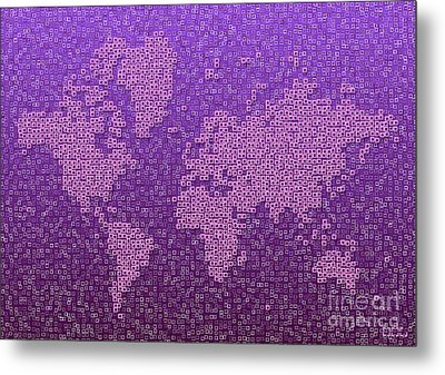World Map Kotak In Purple Metal Print