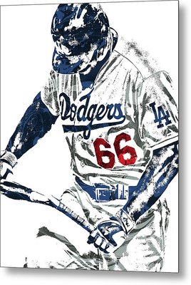 Yasiel Puig Los Angeles Dodgers Pixel Art Metal Print by Joe Hamilton