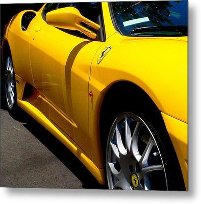 Yellow Ferrari Metal Print by Jeff Lowe