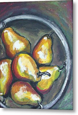 Metal Print featuring the painting Yellow Pears by Sarah Crumpler