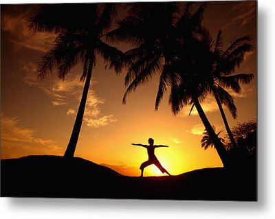 Yoga At Sunset Metal Print by Ron Dahlquist - Printscapes