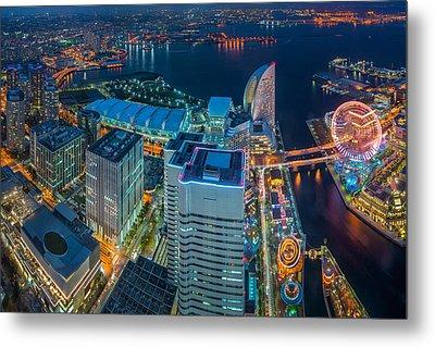 Yokohama, Japan Waterfront Cityscape. Metal Print