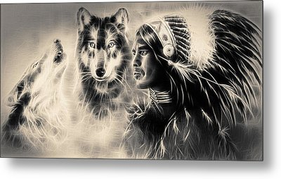 Young Indian Warrior Accompanied With Two Wolves Metal Print