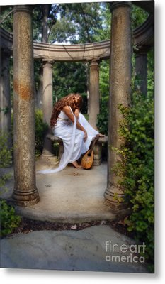 Young Woman As A Classical Woman Of Ancient Egypt Rome Or Greece Metal Print by Jill Battaglia