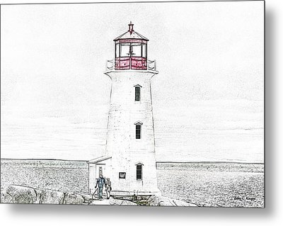 You're My Beacon Peggy's Cove Lighthouse Metal Print by Betsy Knapp