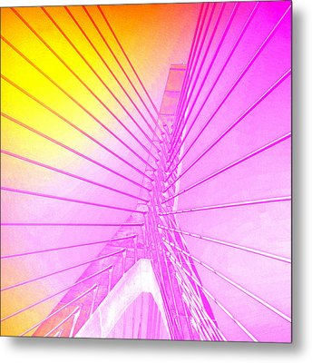 Zakim Bridge Boston V5 Metal Print by Brandi Fitzgerald