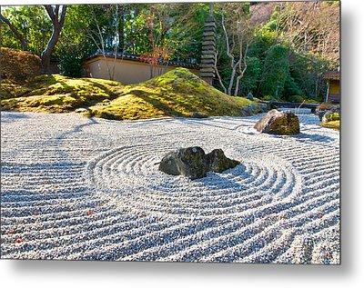 Zen Garden At A Sunny Morning Metal Print