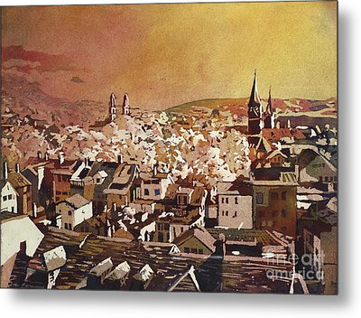 Zurich Skyline Metal Print by Ryan Fox