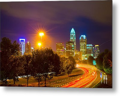 Downtown Of Charlotte  North Carolina Skyline Metal Print by Alex Grichenko