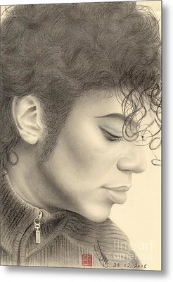 Metal Print featuring the drawing Michael Jackson #four by Eliza Lo