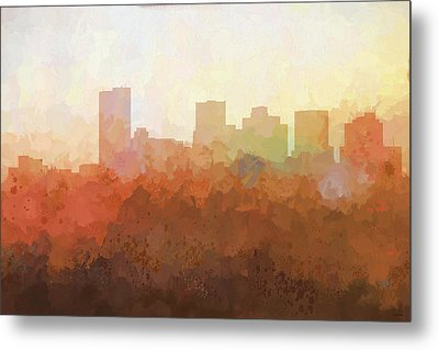 Metal Print featuring the digital art Phoenix Arizona Skyline by Marlene Watson