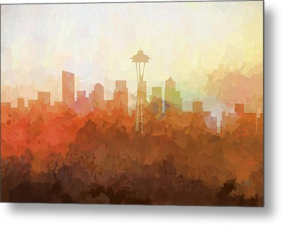 Metal Print featuring the digital art Seattle Washington Skyline by Marlene Watson