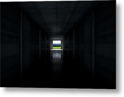 Sports Stadium Tunnel Metal Print by Allan Swart