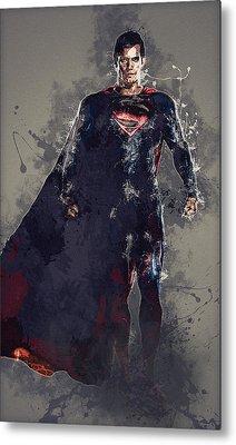 Superman Metal Print by Elena Kosvincheva