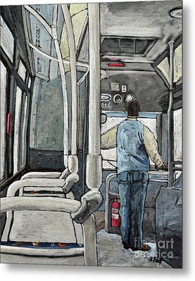 107 Bus On A Rainy Day Metal Print by Reb Frost