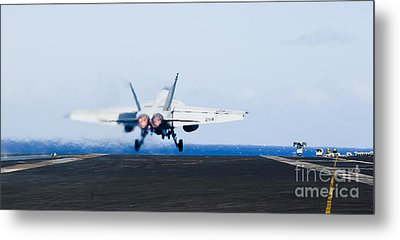 An Fa-18e Super Hornet Launches Metal Print by Stocktrek Images