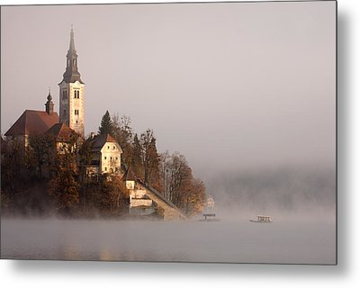 Misty Lake Bled Metal Print