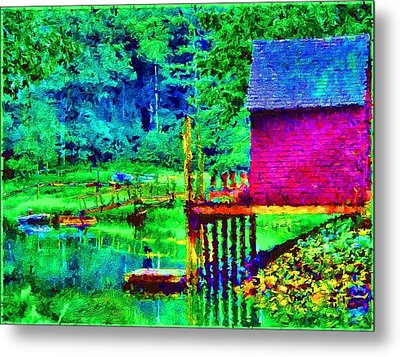 11052008a  Boat House On The Inlet Metal Print by Ed Immar