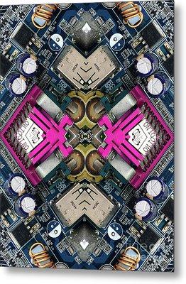 Computer Circuit Board Kaleidoscopic Design Metal Print by Amy Cicconi