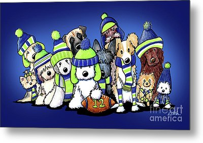 12 Dogs On Blue Metal Print by Kim Niles