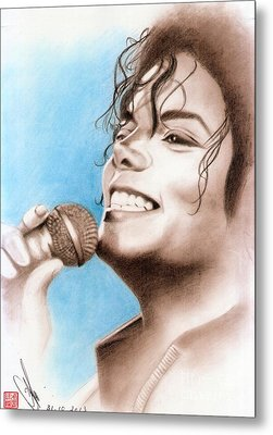 Metal Print featuring the drawing Michael Jackson #six by Eliza Lo