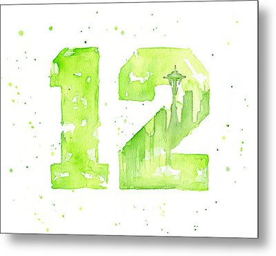 12th Man Seahawks Art Go Hawks Metal Print by Olga Shvartsur