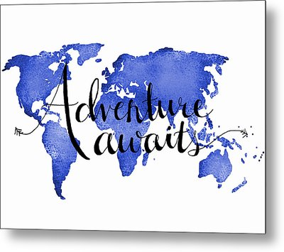 12x16 Adventure Awaits Blue Map Art Metal Print by Michelle Eshleman