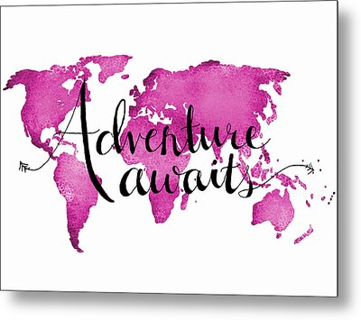 12x16 Adventure Awaits Pink Map Metal Print