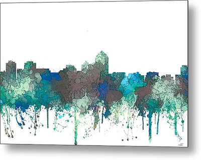 Metal Print featuring the digital art Albuquerque New Mexico Skyline by Marlene Watson