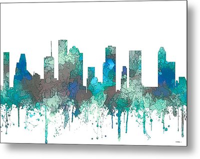 Metal Print featuring the digital art Houston Texas Skyline by Marlene Watson